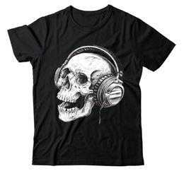 cráneos de auriculares Rebajas Skull Headphones Band Skeleton Music Retro Cool WSN100 Unisex camiseta negra camiseta de hombre