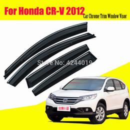 accessoires chroma honda Promotion Auvents de voiture abris visières de fenêtre soleil pluie bouclier autocollant de couverture autocollant chrome garniture accessoires automatiques pour Honda CRV 2012