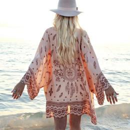 blusa de camisa de ropa de playa Rebajas Playa cubierta hacia arriba de la blusa de las rebecas de las mujeres de bikini de verano de la gasa larga Cardigan flojo blusa superior de capa de la camisa ropa de playa Mantón Kimono