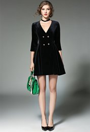 1314e7a73b93 Zarachiel Runway Designer Carriera Donna Autunno collo Sexy Fit lavoro abito  di velluto Vintage elegante abito formale partito mini abiti