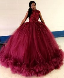Wholesale Quinceanera Dresses - 2019 African Burgundy Ball Gown Quinceanera Dresses Jewel Cap Sleeve Applqieu Ruched Prom Party Gowns For Sweet 16 Dress vestidos de 15 anos