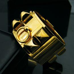 Große armband armbänder gold online-Modeboutique Titan Stahl Schmuck 316 Edelstahl große Niete breite Version Vollmetall Armreif Liebe Armband für Frauen