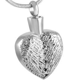 Schutzengel halskette online-IJD8558 Edelstahl Einäscherung Feder Schutzengel Flügel-Herz-Form-hängende Halskette für Frauen mit Ketten-Schmucksachen