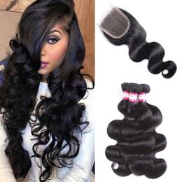 Ondas de pelo comprar online-Body Wave Tejidos brasileños de cabello virgen brasileño Compre 3 paquetes Obtenga 1 Cierre de encaje gratis Pelo brasileño con 4x4 Cierre de encaje Extensiones de cabello