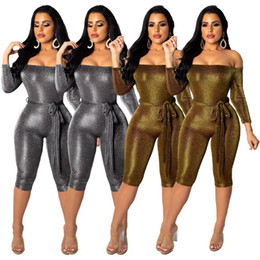 818a7a9d0915 catsuit playsuit NZ - Spun Gold Silver Sexy Short Jumpsuit Women Slash Neck  Nine Sleeve Sheath