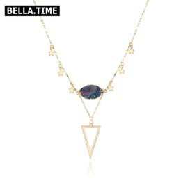charme triangle de cuivre Promotion Colliers de foulards ajustables faits à la main pour les femmes ovale arc-en-ciel Druzy Triangle cuivre pendentif étoile Charms colliers NKS182
