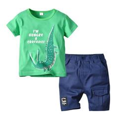076c73a691ea3b Ins dinosaur Boys Clothing Sets new Summer Boys Suits kids sets short sleeve  T-Shirt+Shorts casual Children Suit kids designer clothes A4785