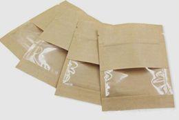 Barriere sacchetti cibo online-vape Food Barrier a prova d'umidità Barriere con finestra trasparente Marrone bianco Carta kraft Sigillatura della carta Doypack Sacchetto Chiusura a zip Imballaggio per erbe secche