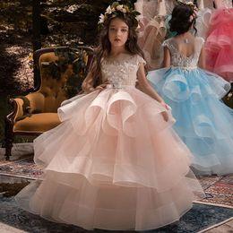 2019 одежда для ту Розничная девушка с цветочными аппликациями бисером маленький лук ту ту платье девочка без рукавов принцесса свадебная юбка детский бутик роскошной одежды дешево одежда для ту