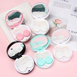 contatos redondos Desconto Moda portátil Contact Lens Box Glitter fácil transportar rodada shine Olhos Cuidados Kit de suporte da lente de contato caso de armazenamento de plástico ABS