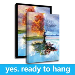 oil paintings art print canvas frame Promo Codes - Framed Canvas Wall Art Four Seasons Tree Landscape Oil Painting On Canvas Print Painting Calligraphy For Home Decor - Ready To Hang