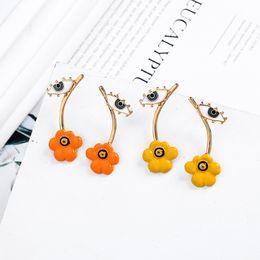 Color naranja único online-BALANBIU Diseño especial Unique YellowOrange Enamel Flowers Evil Eyes Stud Earrings para mujeres Regalos Gold Color Fashion Jewelry