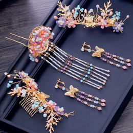 diseños de oro rubí Rebajas T1017 estilo chino joyería de la boda conjunto novia sombreros hechos a mano cuentas de cristal borlas horquillas pendientes corona nupcial