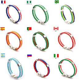 Мода Россия Испания Франция Бразилия Флаг Кожаный Командный Браслет Мужчины Высокого Качества Футбольных Болельщиков Пары Подарочные Ювелирные Изделия от