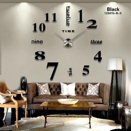 Decoración contemporánea online-Nuevo 16 pulgadasNew Fashion Mirror DIY Reloj de pared Decoración de alta calidad Reloj de pared Contemporáneo de gran tamaño Relojes originales