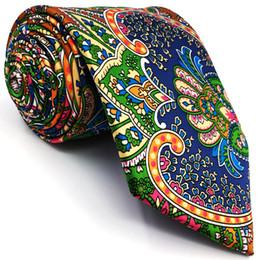 Soie bleu-vert en Ligne-U31 Paisley Multicouleur Rouge Vert Jaune Bleu Hommes Cravates Cravate 100% Soie Impression À La Main Nouveau