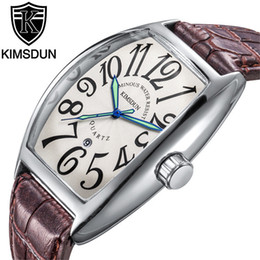 часы tonneau Скидка  fashion  KIMSDUN men tonneau date display casual luminous Chronograph quartz watch clock leather strap Relogio