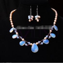 Серьги с бриллиантами онлайн-Бесплатная доставка микс сладкий падение лунный камень розовый пресноводные жемчужное ожерелье серьги набор