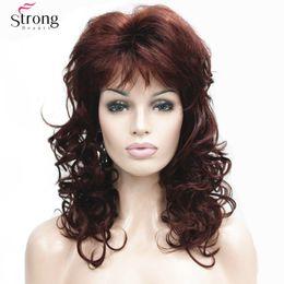 Каштановые парики средней длины онлайн-Женская средней длины парики длинные темно-рыжий парик волнистые косые челка синтетические волосы полный парик для женщин
