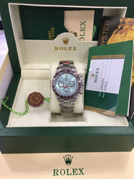 reloj de goma china Rebajas Caja original Relojes de lujo Reloj de pulsera Bisel de cerámica 116506 Dial azul Pulsera de acero inoxidable Reloj automático para hombre