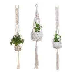 bolsas al por mayor ventana marrón Rebajas Fashion Macrame Plant Hanger Indoor Outdoor Hanging Basket Jute Rope New Cotton And Linen Vintage Hanging Flowerpot Net