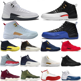 scatola di taxi Sconti Con scatola FIBA Reverse Taxi 12 12s Gioco Royal Basketball Shoes Bumblebee GS CNY Michigan bianco grigio palestra rosso Mens scarpe da ginnastica Sport Sneakers
