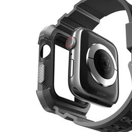 Reloj de pulsera de pc online-Para bandas de reloj de Apple 44 mm 40 mm Serie 4 bandas de iwatch Banda de reloj de TPU y caja de PC Reemplazo Muñequeras Correas Pulsera deportiva de moda