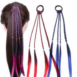 Peruca de rabo de cavalo trançada on-line-Meninas coloridas bandas peruca rabo de cavalo cabelo ornamento peruca Headband elásticos de cabelo Headwear Crianças torção trança de cabelo acessórios de Corda
