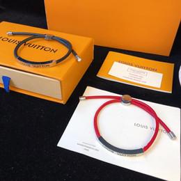 Seil armband muster online-Schmuckkollektion Designer-Armband Kalbsleder-Seil-Armband 2019 Luxusmode-Accessoires Muster und glänzende Metallic-Oberflächen