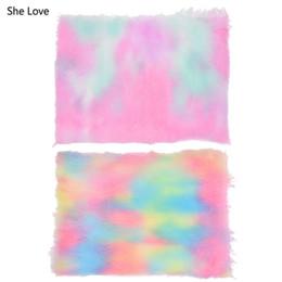 mestiere di pellicce Sconti She Love A4 Rainbow Fur Fabric Materiale fai-da-te per abbigliamento Craft Making Accessori