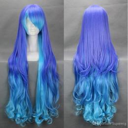 Parrucche di luka online-Serie Vocaloid anti infin. holic luka Cospaly Wig Blue Parrucca sintetica a maglie lunghe misti sintetiche