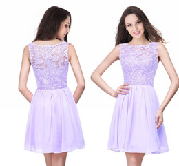 pick shirt Coupons - 2019 Lilac Chiffon Short Homecoming Dresses Cheap Backless Lace Appliqued Cocktail Party Gown Mini Prom Evening Dresses CPS164