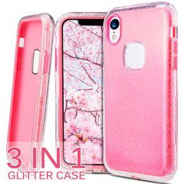 iphone 6s più i casi di bling Sconti Custodia rigida in silicone per PC Hybird 3in1 Clear Shiny Glitter per iPhone 6s 7 8 x xr xs max Custodie per cellulare bling