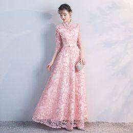f57dd72c0fb14 2018 Nouveau Parti Cheongsam Oriental Femmes Maxi Robe Traditionnelle  Chinoise Style Élégant Qipao Robes Longues Robe Robe Taille S-XXL