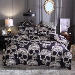 king size skull bedding Sconti Biancheria da letto stampata con teschi 3D Completa Copripiumino matrimoniale Full Aid EU US Taglia da letto con Federa nera Imbottito nero 3 pezzi