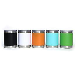 Tazas de viaje de café más cool online-10 oz de acero inoxidable Vasos refrigerador de doble pared con aislamiento Copa de vino tazas de cerveza coche viaje tazas de café con tapas GGA2941-2