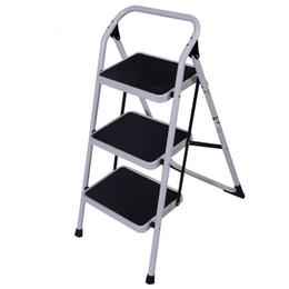 Для домашнего использования 3-ступенчатая железная лестница с короткими перилами Черный Белый 330 фунтов Сверхмощный легкий от Поставщики жаккардовые носки