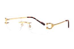 Lunettes de soleil rectangulaires sans cadre en Ligne-France marque designer corne de buffle lunettes miroir sans monture jambes en métal doré lunettes de soleil lunettes optiques des lunettes de soleil