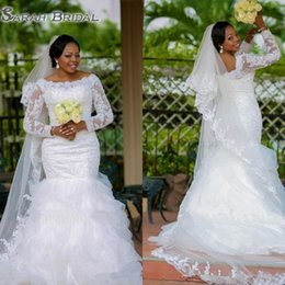 beaded back wedding dress bow Promo Codes - Plus Size Long Sleeve Mermaid Wedding Dresses 2019 Sexy White Lace Off the Shoulder African Bridal Gowns Back Zipper Beaded Custom Made