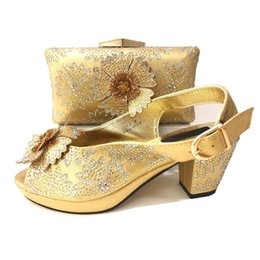 wedges bag set Coupons - New fashion gold women pumps and bag with rhinestone decoration african flower shoes match handbag set V0213,heel 7.5CM