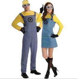 фиолетовая женщина средневекового платья Скидка Minions мужской костюм Halloween Theme и смешной платье партии Необходимые дизайнер одежды Cosplay Мода Одежда