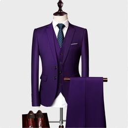 2019 мужские офисные цвета 10 Colors Blazer+ Pants + Vest /Men's Solid Color Suit 3 Sets Of Fashion Boutique Men's Business Office Casual Suits Sets M-5XL дешево мужские офисные цвета