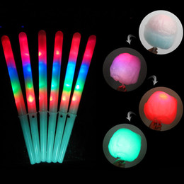 fairies stick Promo Codes - 28cm Cotton Candy LED Sticks Rainbow Flashing LED Light Sticks Glow Night Lights Cosplay Fairy Stick Bar Club Party Garden Decors kids Gift