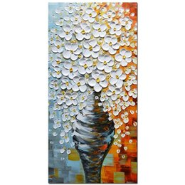 Vasos de pinturas a óleo on-line-Pinturas a óleo 3d na lona elegante vaso branco arte abstrata arte da parede sala de estar cama sala de jantar não emoldurado esticado j190707