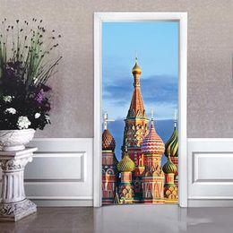 Canada 2pcs / set belle architecture islamique modèle moderne créatif porte autocollants salon chambre entrée décorations musulmanes cheap islamic sticker art Offre