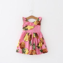 f74b2af0638 Лето Ананас Девушки одеваются Розовый хлопок без рукавов Детское платье  Девушки Пляжное платье Мода Детская одежда для девочек