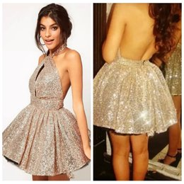6d55510d3e6 Bling Bling Halter Sequin Short Junior Bridesmaids Dresses Sexy Backless  Custom Vestidos De Prom Party Gowns Sequins Honor Of Maid Cheap