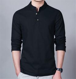 2019 camisas delgadas para hombre de cuello alto Sólidos de diseño camisas para hombre en color delgado de la manera del collar del soporte camisas del Mens ocasionales Los hombres de manga larga Ropa camisas delgadas para hombre de cuello alto baratos