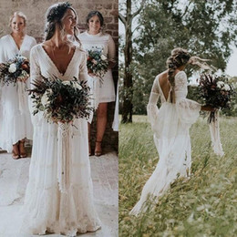 simple beautiful shirt Coupons - 2019 Beautiful Bohemian Wedding Dresses V Neck Long Sleeve Lace Sweep Train Beach Boho Garden Country Bridal Gowns robe de mariée Plus Size