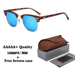 yellow sun glasses for men Promo Codes - High quality Glass Lens Brand Designer Fashion Sunglasses For Men Women UV400 Sport Vintage Sun glasses With free brown cases